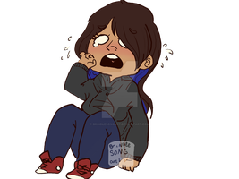 Crying Chibi Me by brindlesongart