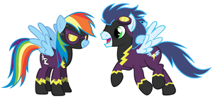 Rainbow and Soarin as Shadowbolts by 3D4D