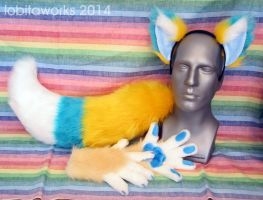 Yellow and Blue Fox Set by LobitaWorks