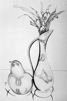 India Ink - Vase and Pear by Zerophim