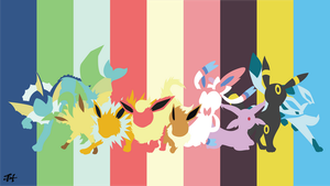 Eevee Evolution (Pokemon) Minimalist Wallpaper by slezzy7