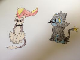 Chibi pyroar and luxray, mustache style! by Darkshadowarts