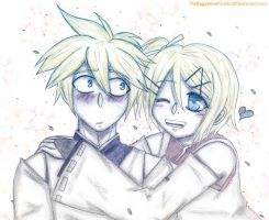 Aitetsu and Suou (Len and Rin) Prize drawing by TheKagamineFanatic