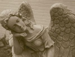 Angel Statue Sepia by FroggieFaith