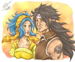 Gajeel + Levy by sarumanka