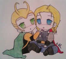 Baby Thor and Loki by TheBastardStark