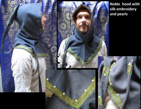 Silk Embroidered Woolen Hood For A Noble Man by MedievalJunkie