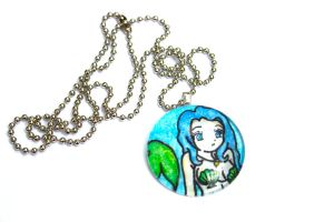 Hand Drawn Beautiful Mermaid Pendant by PinkChocolate14