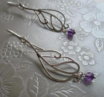 Amethyst Peacock Earrings by SparklyShoes