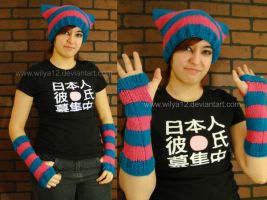Turquoise and Pink striped neko cap w armwarmer by Wilya12