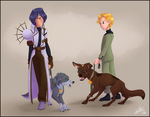 Commission: Walking the Dogs by NattiKay