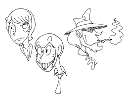 Unfinished Lupin III Sketch by JaxASDF