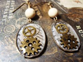 Steam-punk Resin Earrings by dragonofgaea