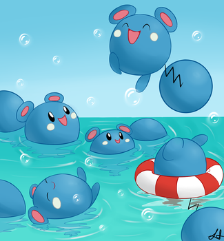 Azurill Pool Party! by Astro0Lauren
