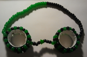 Black and Green Kandi Goggles by anne-t-cats