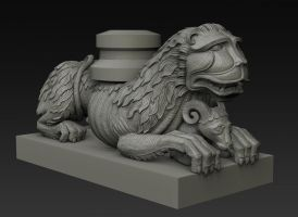 Romanesque lion sculpture by MacX85