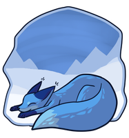 BG: Azure Blue fox by Chigle
