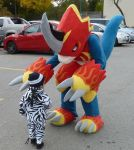 Flamedramon Makes A New Friend by the-last-lefian