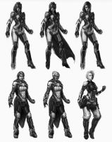 SciFi Female Character Roughs by Veneq