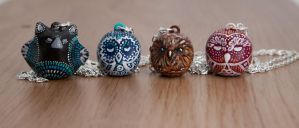 Polymer clay animal totems necklaces by lifedancecreations
