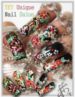 asian pattern nail by YEYUniqueNail