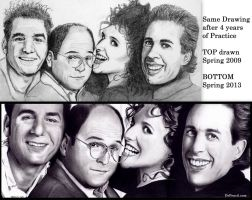 Seinfeld - same drawing 4 years later by Rick-Kills-Pencils