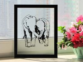 In love Elephants Handmade Original Papercut by DreamPapercut