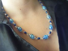 Blue Flower Glass Necklace with Shell Beads by Perpetualwolfsage