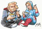Cap n' Thor n' Macaroni n' Jammies Commission by kevinbolk