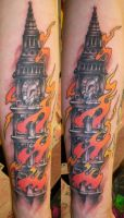 Burning Clocktower by Dripe