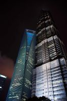 High modern buildings from China at night by MihaelaJoeDesigns