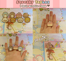 Cute Acrylic Ring set by SqueakyToybox