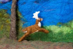 Jumping Deer- Felted Fuzzies by feltAliza