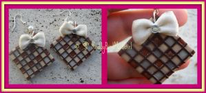Heart Squared (only earrings) White/Brown Version by ReddyBirdMadGirl