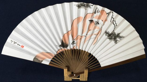 Brotherly Love, handpainted Japanese folding fan by catherinejao