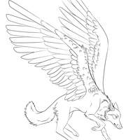 Winged Wolf Lineart by trevu