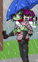 Sharing a BLUE umbrella by SpazzyMouseGirl