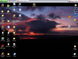 Arenal Sunset Panorama Desktop by Caedy