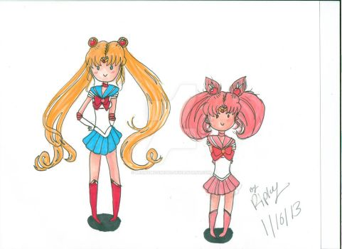 Sailor Moon And Chibi Moon Cuteness by minnymoon1360