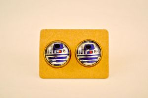 R2D2 Star Wars Antique Bronze Stud Earrings by AshsMysticEmporium