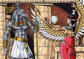 Set + Nephthys - Classic Mythology by ElainePerna