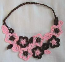 Pink and Brown Thread Necklace by joanieponytail