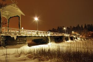 Seurasaari Bridge in Winter by Pajunen