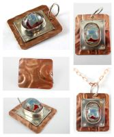 Silver Copper Soldered Blue Red Lampwork Pendant by DryGulchJewelry