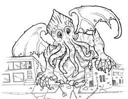 Cthulhu lineart by flaming-trout