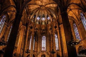 Stained glass Barcelona Cathedral by slashero
