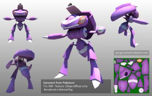 Lowpoly Genesect by MightyDargor