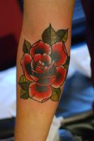 Neo traditional rose cover up by alex tattoo by HammersmithTattoo