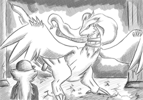 Reshiram and N speed draw by Dark-wings-eagle