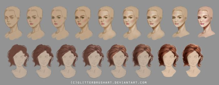 Head + Hair Steps (HQ Download Availible) by GlitterBrushArt